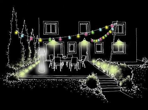 Bien clairer votre jardin la nuit leroy merlin for Lumiere mur exterieur