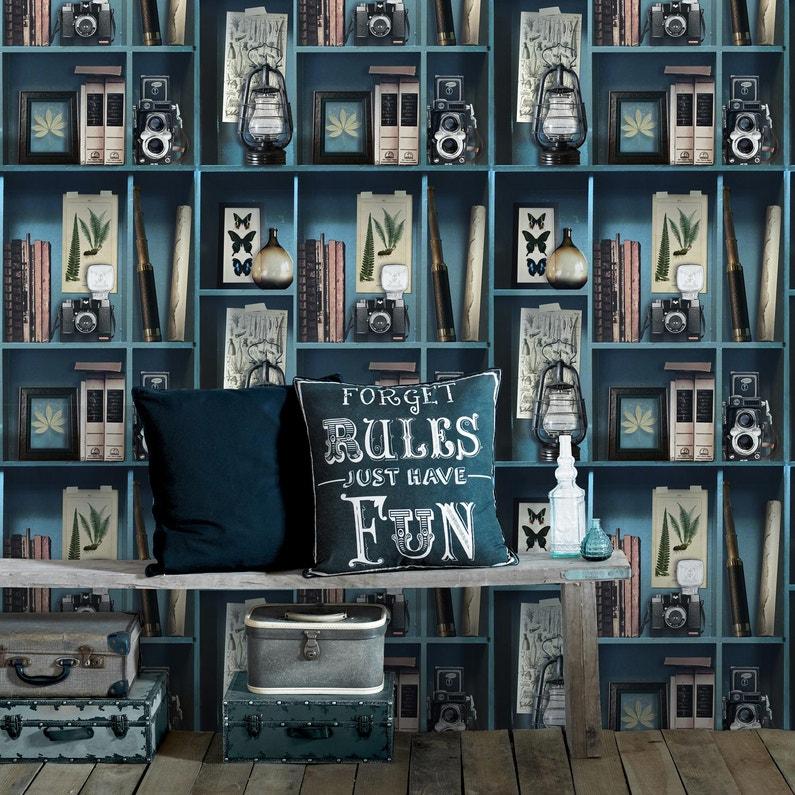 Papier peint intissé Cabide curiosite bleu | Leroy Merlin
