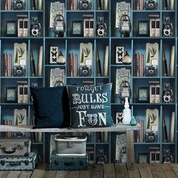Papier peint intissé Cabinet de curiosite bleu pétrole et tons sepias