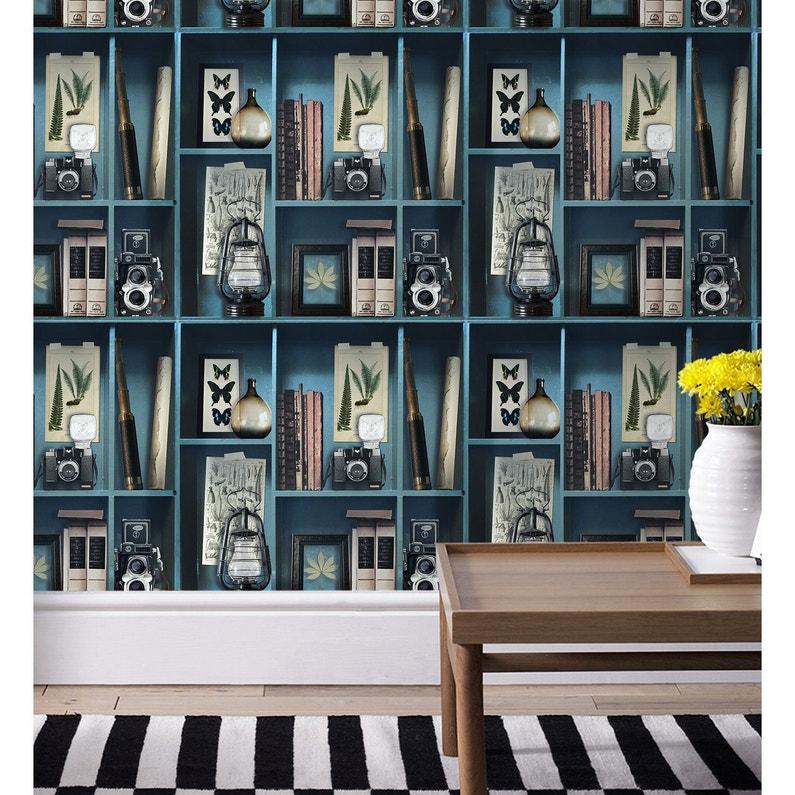 Papier Peint Intisse Cabinet De Curiosite Bleu Leroy Merlin