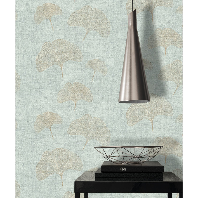 papier peint intiss ginkgo bleu leroy merlin. Black Bedroom Furniture Sets. Home Design Ideas