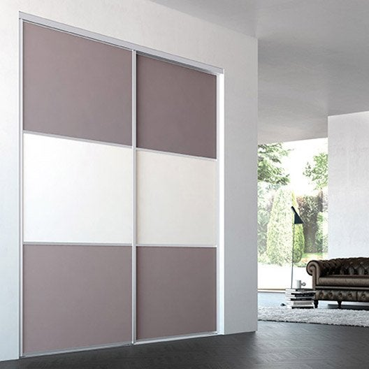 porte de placard coulissante sur mesure iliko opaline de 60 1 80 cm leroy merlin. Black Bedroom Furniture Sets. Home Design Ideas