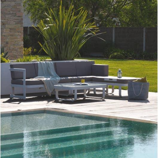 salon bas de jardin barcelona aluminium blanc 6 personnes. Black Bedroom Furniture Sets. Home Design Ideas