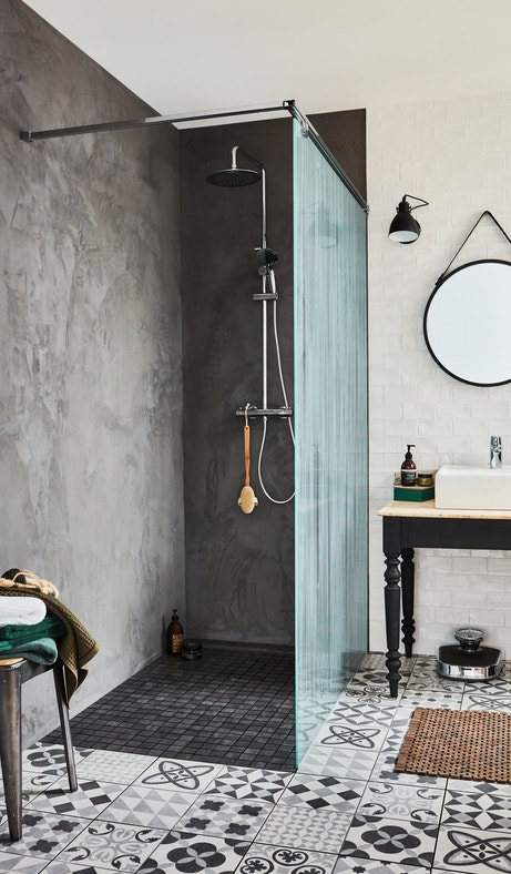 Votre douche moderne et raffin e leroy merlin - Douche a l italienne grise ...