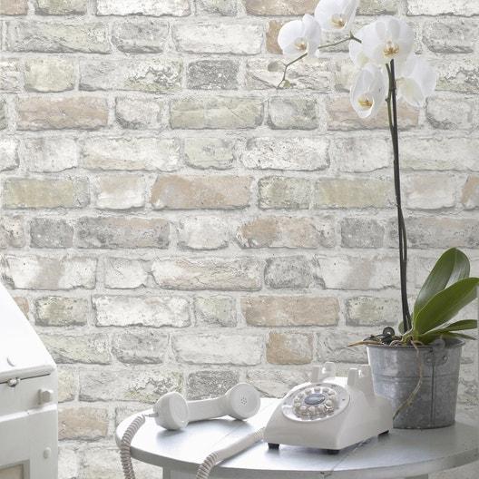 papier peint vinyle briques vieillies orange leroy merlin. Black Bedroom Furniture Sets. Home Design Ideas