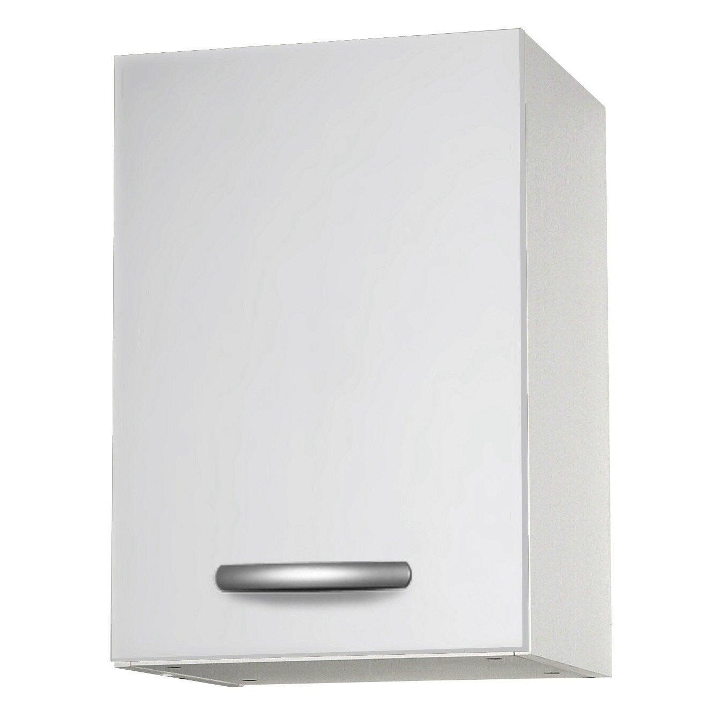 Meuble de cuisine haut 1 porte, blanc, h57.9x l40x p35.2cm   Leroy ...