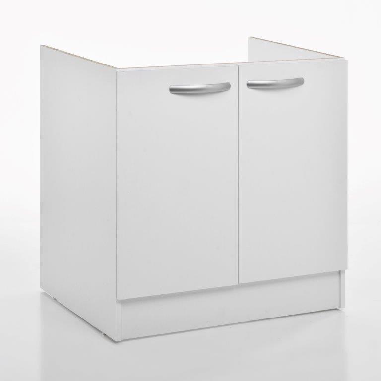 Meuble de cuisine sous-évier 2 portes, blanc, h86x l80x p60cm