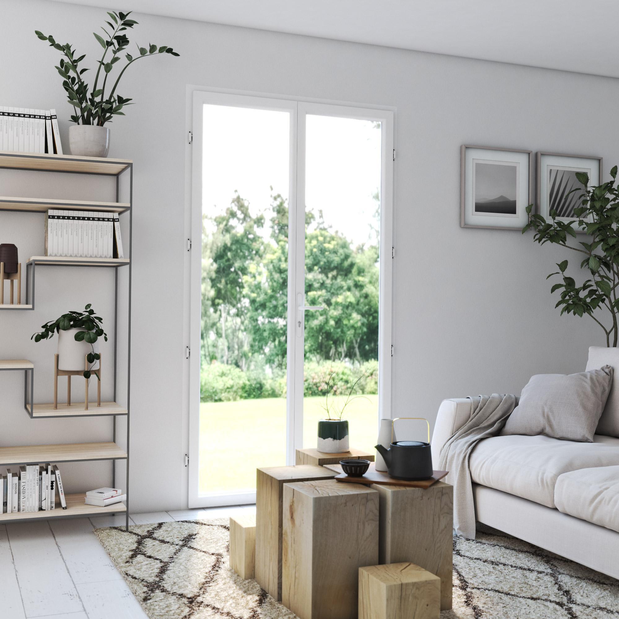 Porte-fenêtre PVC H.215 x l.100 cm, blanc / blanc, 2 vantaux tirant droit
