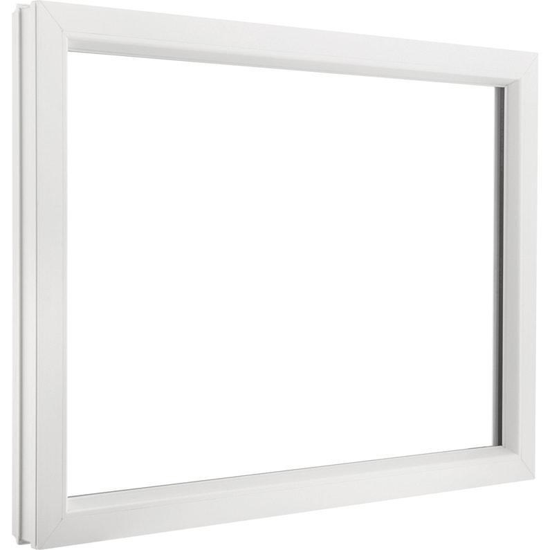 Fenêtre Pvc H 95 X L 100 Cm Blanc Blanc 1 Vantail Fixe