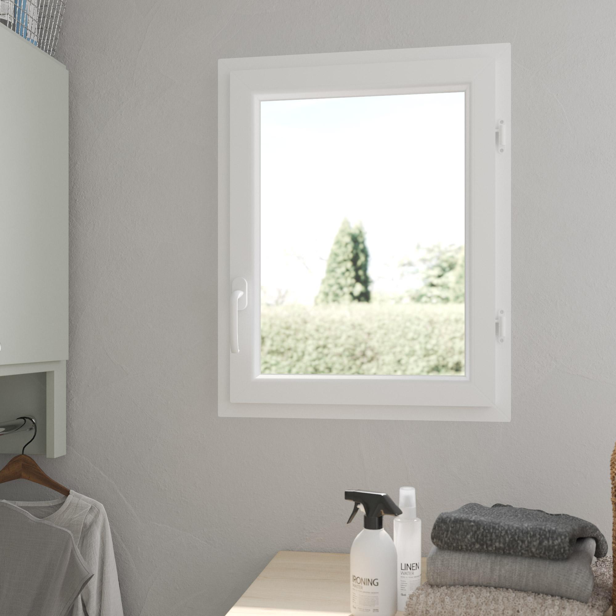Fenêtre PVC H.75 x l.60 cm, blanc / blanc, 1 tirant droit