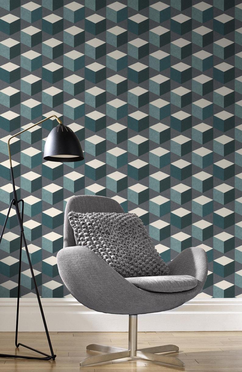 Leroy Merlin Papier Peint Salle De Bain papier peint vinyle sur intissé motif cubes hexagone multicolore