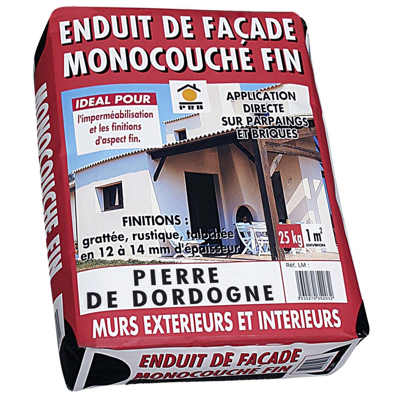 Enduit monocouche ton pierre prb 25 kg leroy merlin for Enduit beton cellulaire exterieur