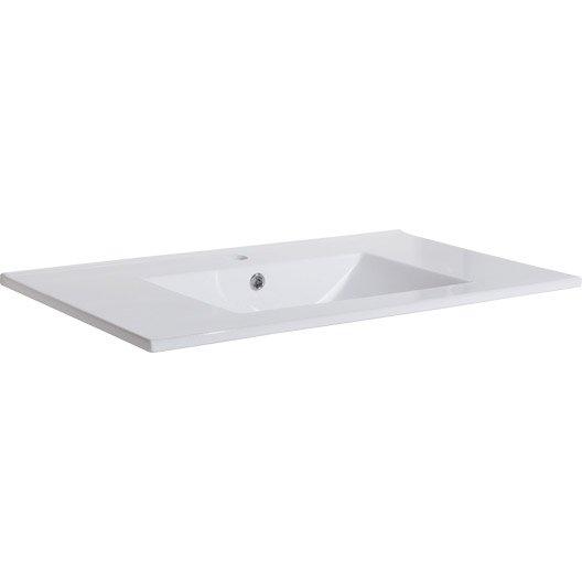Plan vasque simple SENSEA Dado céramique blanc l81xL18xP46 cm