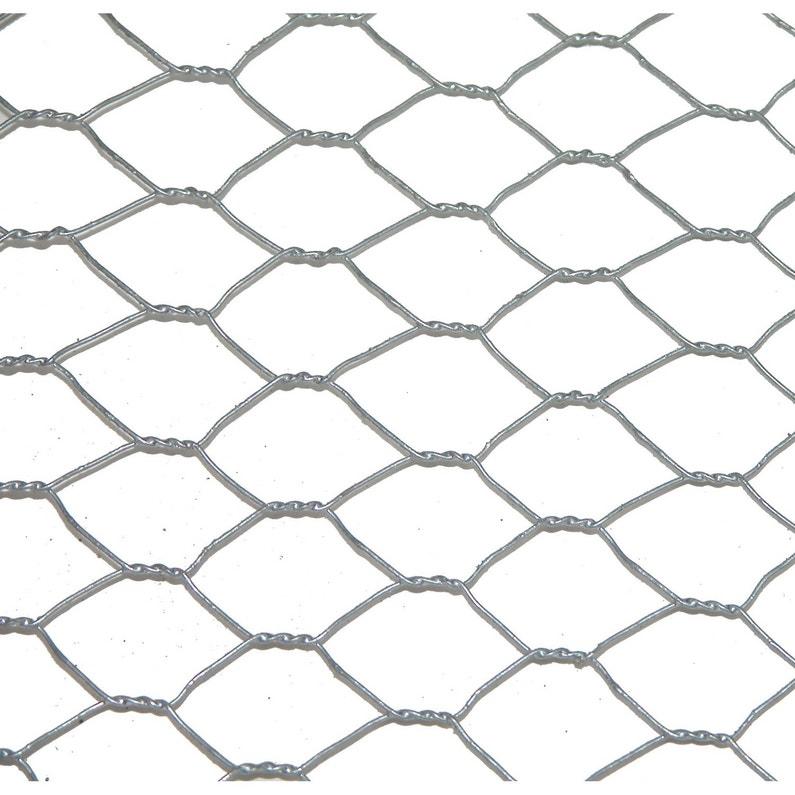 Grillage pour animaux triple torsion gris, H.0.5 x L.3 m, maille H.13 x  l.13 mm