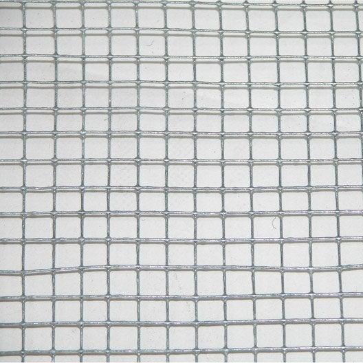 grillage pour animaux soudé gris, h.1 x l.3 m, maille h.6 x l.6.4