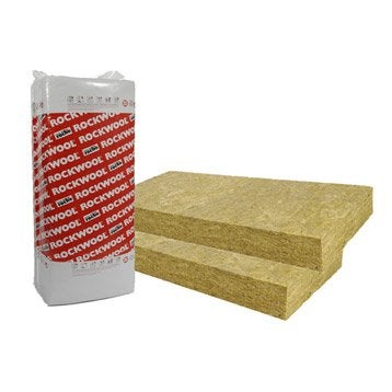 Panneau en laine de roche, Rockfaçade ROCKWOOL, 1.35 x 0.6m Ep. 50mm