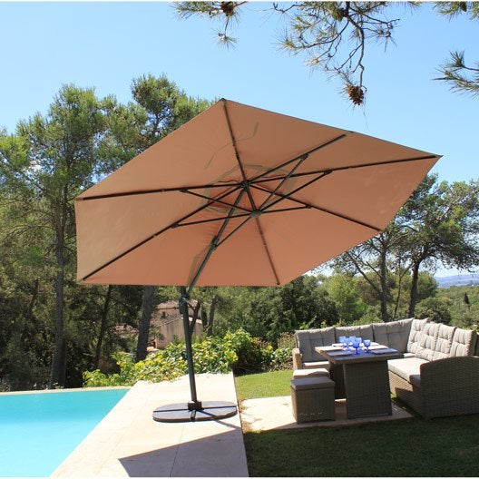 Parasol d port marco taupe rectangulaire x for Parasol deporte rectangulaire leroy merlin