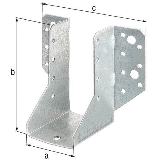 support de poteau forme u galvanis 51x105x2 mm leroy. Black Bedroom Furniture Sets. Home Design Ideas