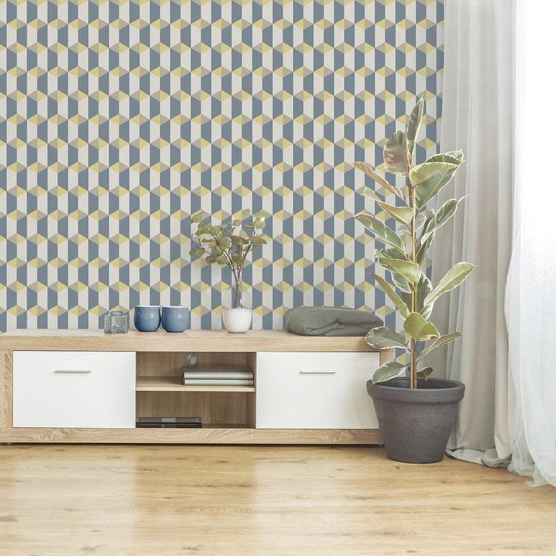 Papier Peint Vinyle Celia Graphique Bleu Jaune Beige Leroy Merlin