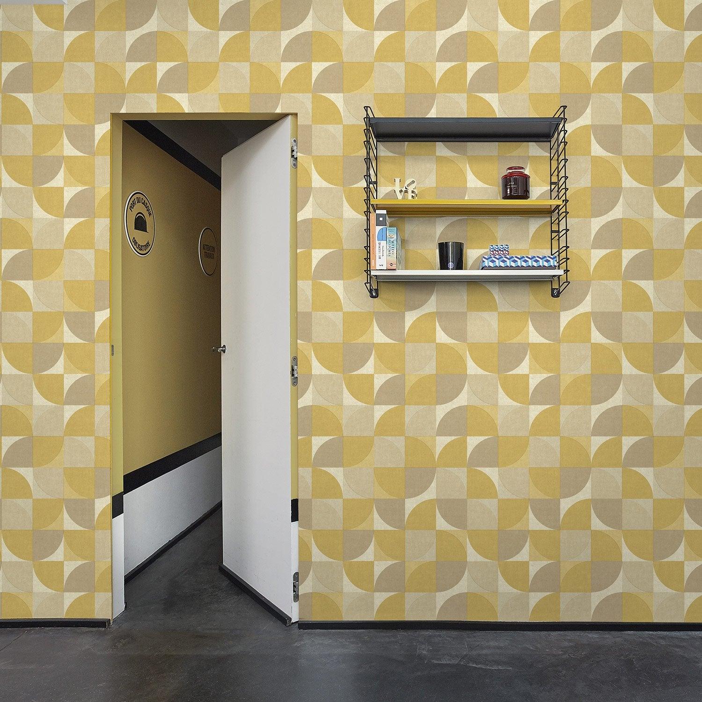 Papier Peint Jaune Moutarde papier peint vinyle rosalie jaune moutarde