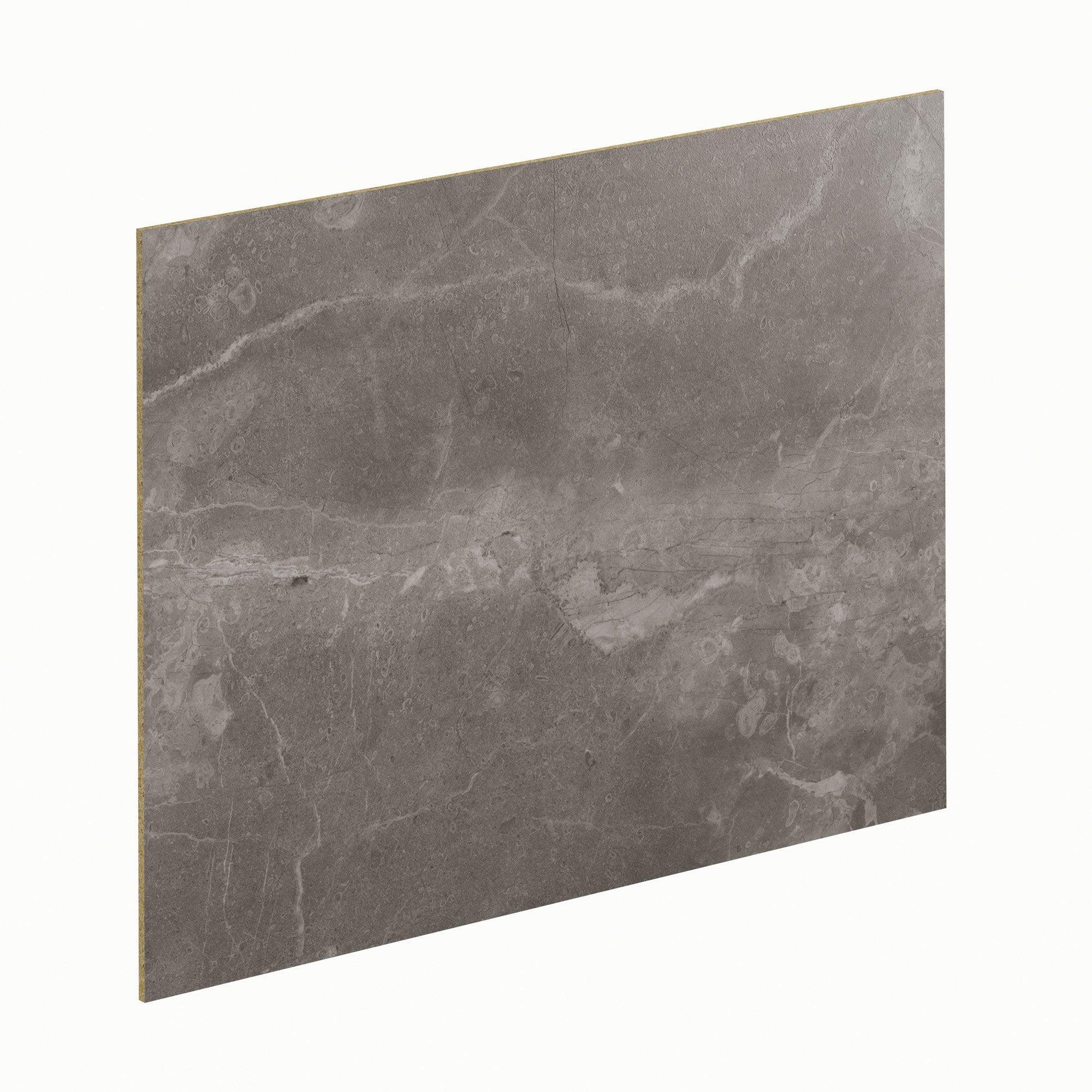 Crédence stratifié Marbre gris/metal H.64 cm x Ep.9 mm x L.300 cm