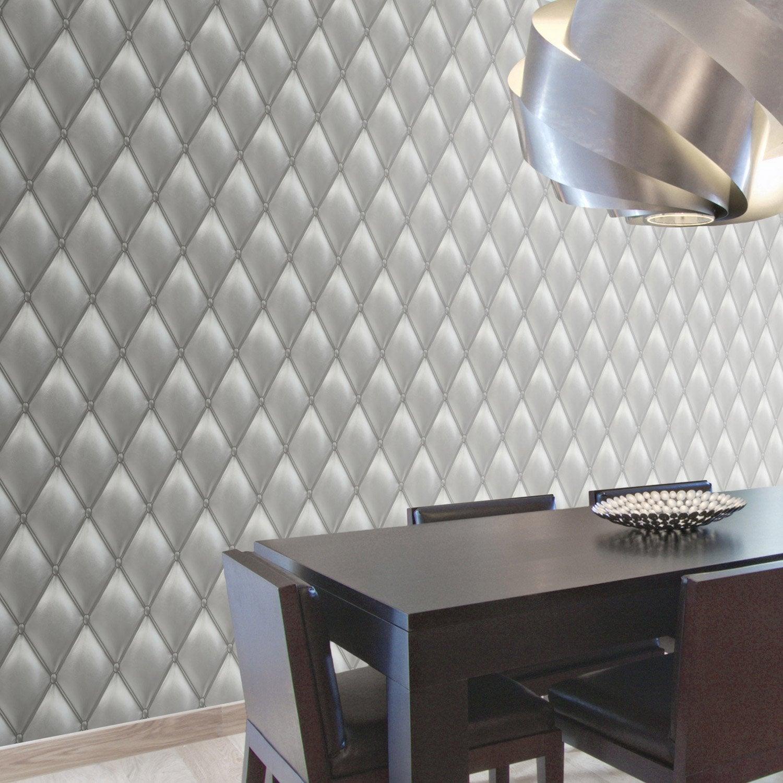Papier Peint Plafond Trompe L Oeil papier peint intissé capiton froisse gris | leroy merlin