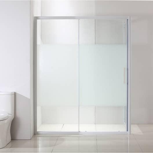Porte de douche coulissante 100 cm, sérigraphié, Quad   Leroy Merlin