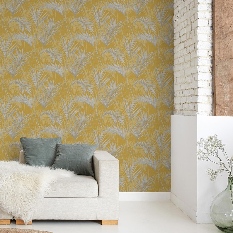 Papier peint vinyle Palm Springs jaune moutarde | Leroy Merlin