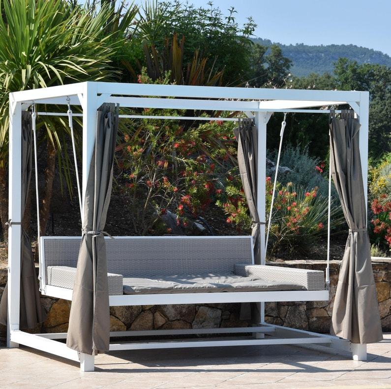 Lit Balancelle De Jardin Suspendu Deep Blanc L 236 X L 180 X H 210 Cm