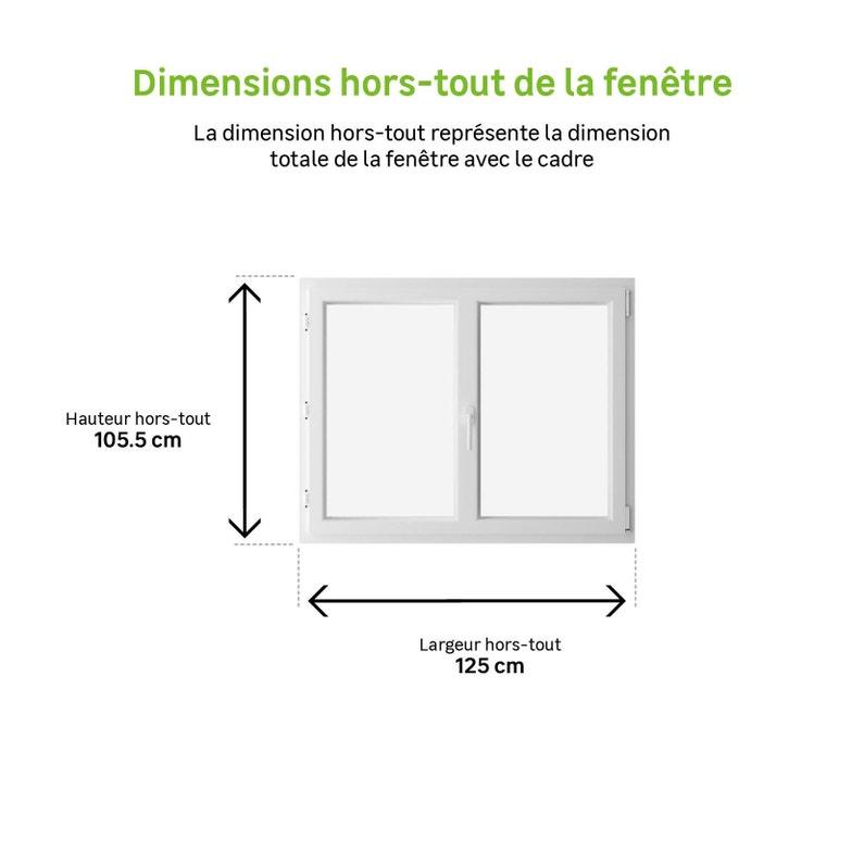 Fenêtre Pvc H105 X L120 Cm Blanc 2 Vantaux Oscillo Battant Tirant Droit