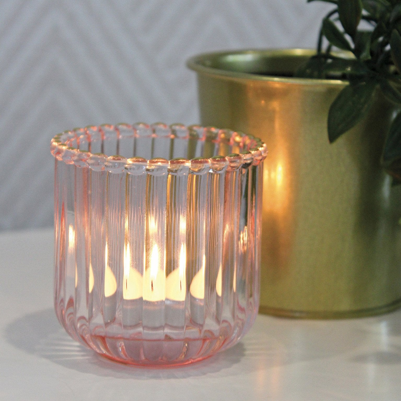 Photophore Octavia, verre, rose l.7.5 x H.7.5 cm