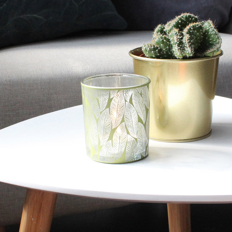Photophore Elna, verre, vert l.7 x H.7.8 cm
