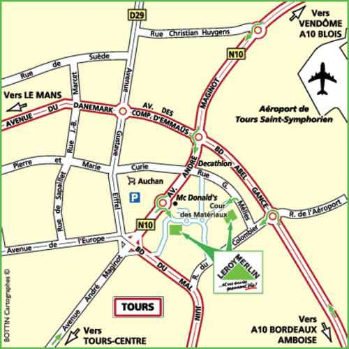 Plan d'accès au magasin Leroy Merlin de Poitiers (chasseneuil-du-poitou)