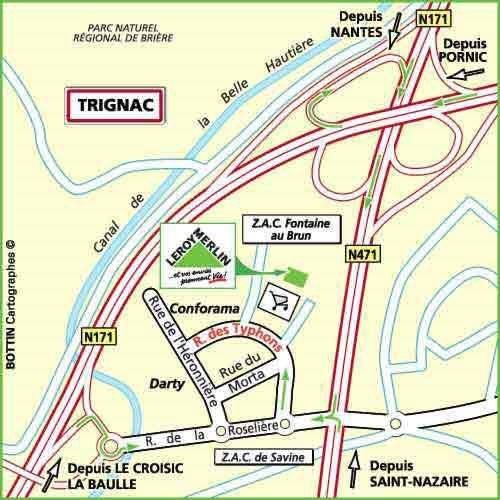 Plan d'accès au magasin Leroy Merlin de La roche sur yon