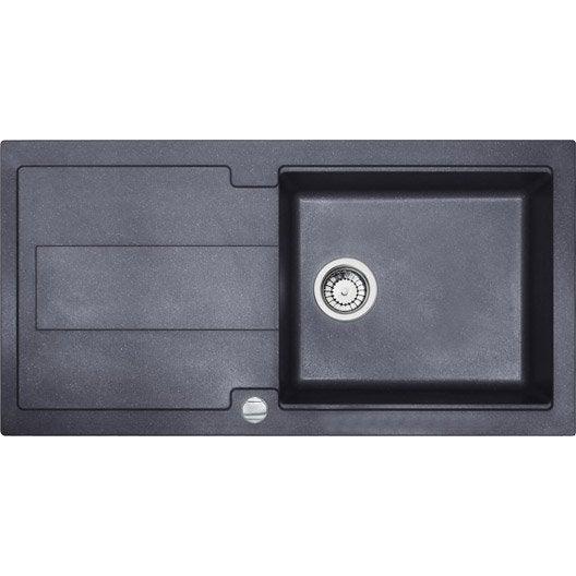 Evier encastrer granit et r sine noir bali 1 bac avec for Montage evier cuisine
