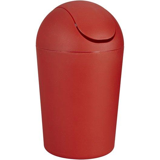 Poubelle de salle de bains 5 l rouge rouge 5 smart leroy - Poubelle de salle de bain en bois ...