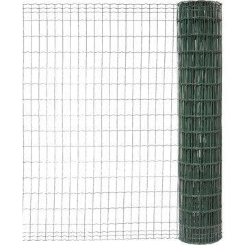 Grillage soudé vert H.1.8 x L.10 m, maille de H.100 x l.50 mm