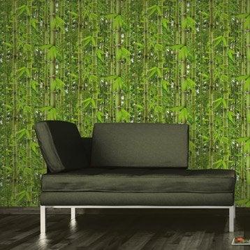 Papier peint vinyle expansé sur papier Bambouseraie, vert, larg. 0.53 m