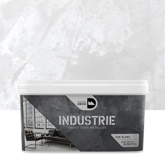 Peinture effet industrie maison deco fer blanc 4 kg - Mur effet metal ...