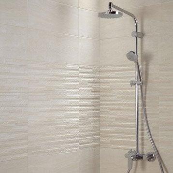 Faïence mur beige, décor trevise l.20 x L.50 cm
