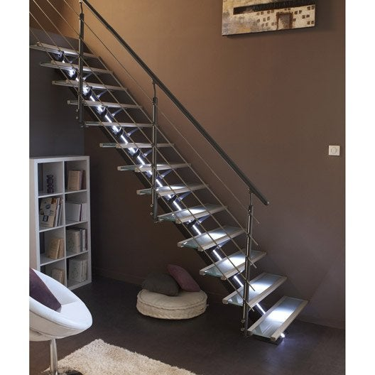 escalier droit mona structure aluminium marche aluminium leroy merlin. Black Bedroom Furniture Sets. Home Design Ideas