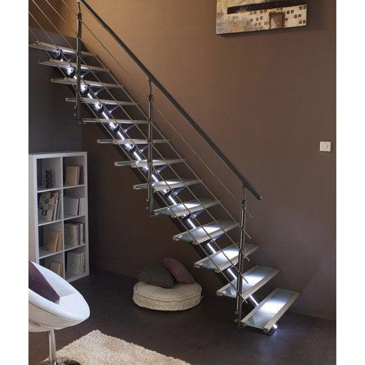 escalier droit mona structure aluminium marche verre leroy merlin. Black Bedroom Furniture Sets. Home Design Ideas