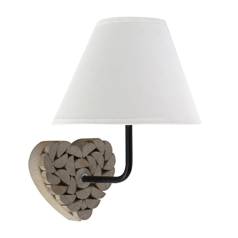 Applique, campagne coton bois naturel SEYNAVE Carlita 1 lumière(s)