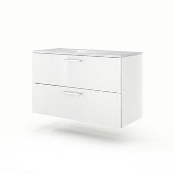 Meuble vasque l.105 x H.64 x P.48 cm, blanc Neo line