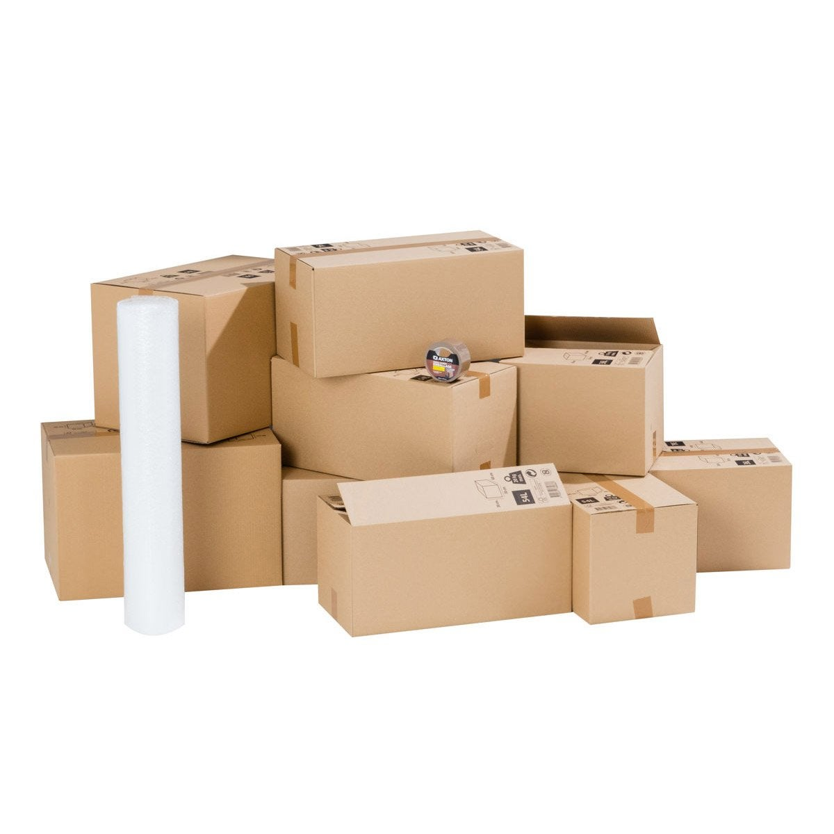 kit d m nagement pour logement 20m cartons film bulle adh sif leroy merlin. Black Bedroom Furniture Sets. Home Design Ideas