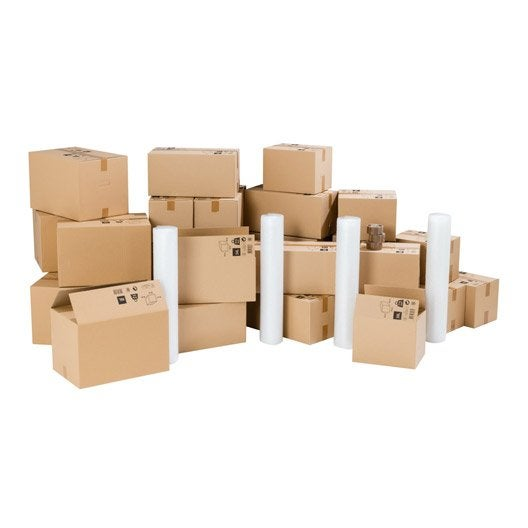 kit d m nagement pour logement 90m cartons films bulle adh sifs leroy merlin. Black Bedroom Furniture Sets. Home Design Ideas