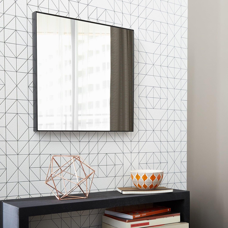 Miroir Jo, noir, l.30 x H.30 cm