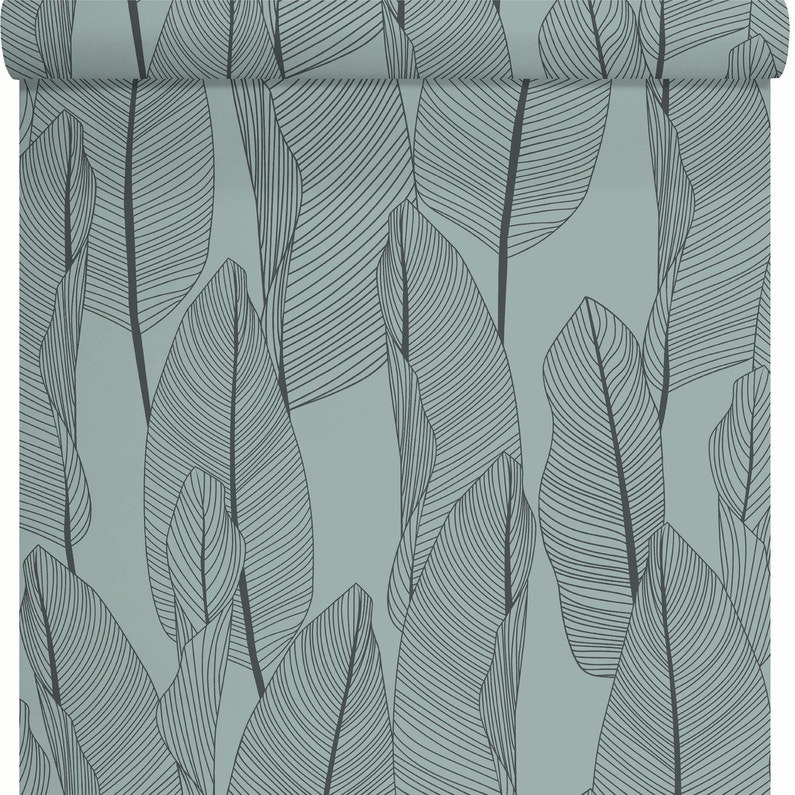 Papier Peint Vinyle Bananier Vert Et Noir Leroy Merlin