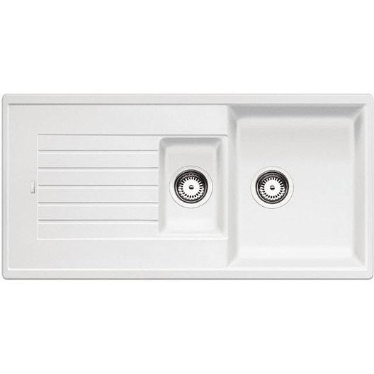 evier encastrer granit et r sine blanc zia 1 5 bac avec. Black Bedroom Furniture Sets. Home Design Ideas