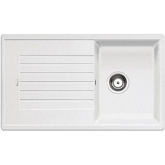 evier encastrer granit et r sine blanc zia 1 bac avec. Black Bedroom Furniture Sets. Home Design Ideas